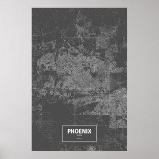 Phoenix, Arizona (white on black) Poster