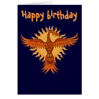 Phoenix fire bird cool happy birthday card design