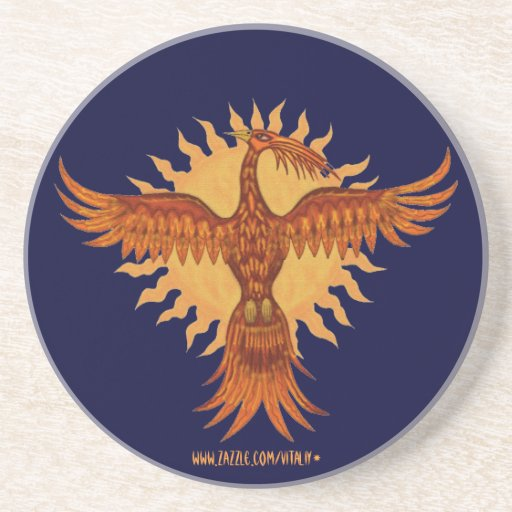 Phoenix  fire bird graphic art cool coaster