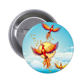 Phoenix Fire Bird Rising 6 Cm Round Badge