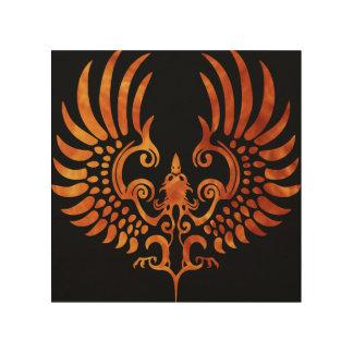 Phoenix Fire on Wood Canvas