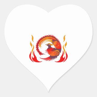 PHOENIX RISING FROM FLAMES HEART STICKER