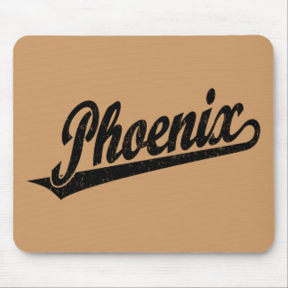 Phoenix script logo in black distressed mouse pad