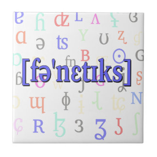 Phonetics in IPA. Blue on characters background. Tile