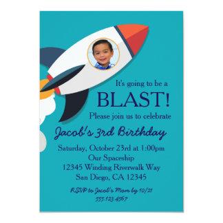 Phot0 Rocket Spaceship Boy Birthday Invitation