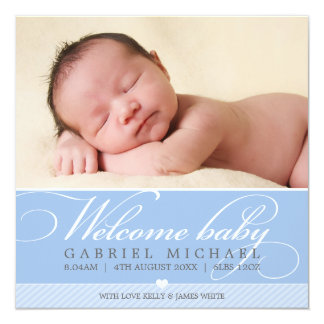 PHOTO BIRTH ANNOUNCEMENT lovely script type blue