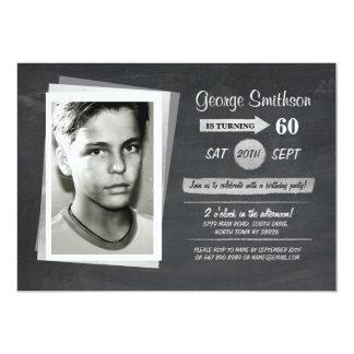 Photo Birthday Silver Black White Invite