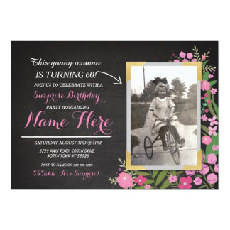 Photo Birthday Vintage Floral Invite Any Age Women
