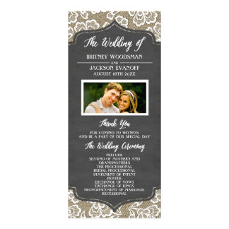 Photo Chalkboard Burlap Lace Wedding Programs Personalized Rack Card