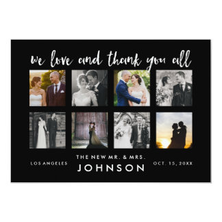 Photo Collage Classy Wedding Photo Thank You Cards