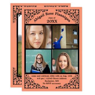 Photo Collage Coral Lace - Graduation Announcement