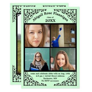 Photo Collage Mint Lace - Graduation Announcement