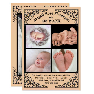 Photo Collage Peach Lace - 3x5 Birth Announcement