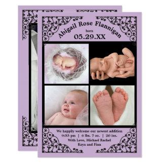 Photo Collage Purple Lace - Birth Announcement
