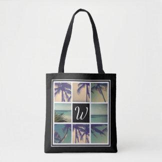 Photo collage tote bag with custom name monogram