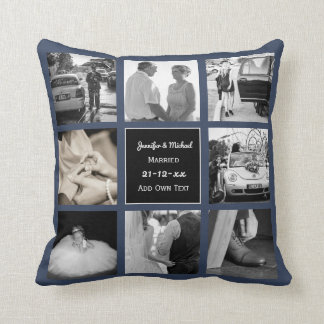 PHOTO COLLAGE Wedding Vow Renewal or Anniversary B Cushion