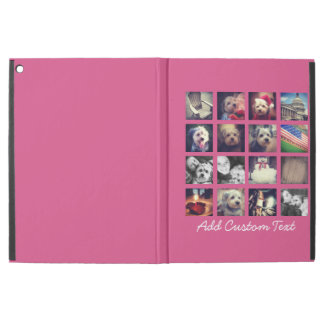 """Photo Collage with Hot Pink Background - 16 pics iPad Pro 12.9"""" Case"""