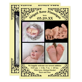 Photo Collage Yellow Lace - 3x5 Birth Announcement