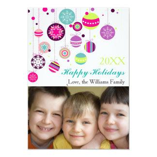 Photo Colorful Holiday Bulbs - 5x7 Christmas Card
