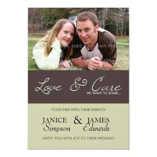 Photo engagement wedding love care brown green card