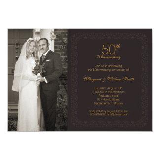 Photo Golden 50th Wedding Anniversary Party 13 Cm X 18 Cm Invitation Card