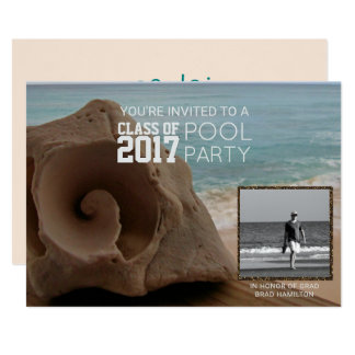 Photo Graduation Pool Party Beach | Class of 2017 Card