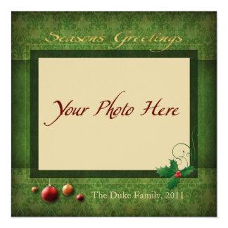 "Photo Holiday Card, ""Seasons Greetings"" 13 Cm X 13 Cm Square Invitation Card"