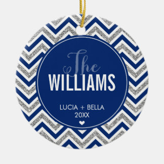 PHOTO HOLIDAY ORNAMENT chevron glitter silver navy