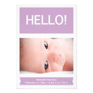 Photo Lilac Birth Announcement