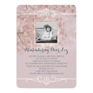 Photo Memorial Service Dusty Pink Cherry Blossoms Card
