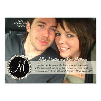 Photo Monogram Wedding Invitations Fleurs de Lis