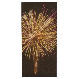 Photo of Purple and Gold Glimmery Firework display Wood USB Flash Drive