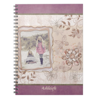 Photo Pretty Scrapbook Page in Pink on Plum Spiral Notebook