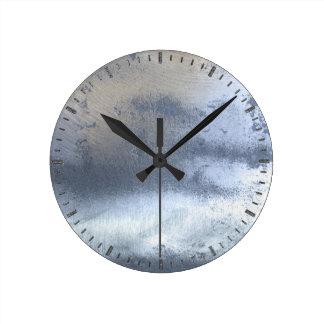 Photo Realistic Steampunk Sheet Metal Silver Steel Round Clock