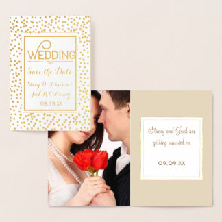 Photo Save the Date Gold Confetti Typography Foil Card