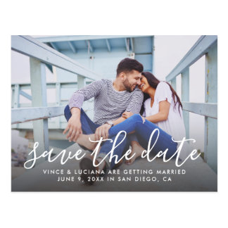 Photo Save the Date | Hand Lettered Script Postcard