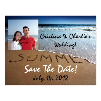 Photo Save The Date Summer Beach Wedding Postcards
