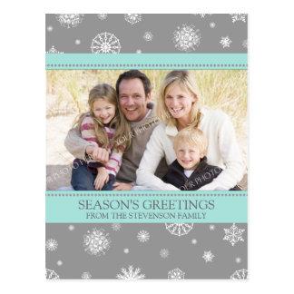 Photo Snowflakes Season s Greetings Postcards Grey