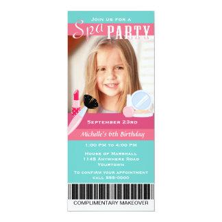 """Photo Spa Party Birthday 4"""" X 9.25"""" Invitation Card"""