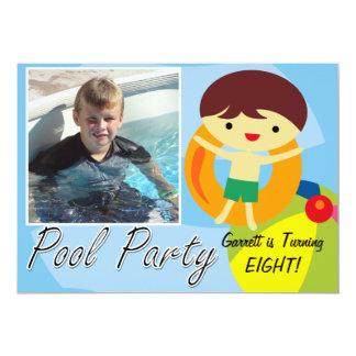 Photo Swimming Summer Boy Pool Party  Birthday 13 Cm X 18 Cm Invitation Card