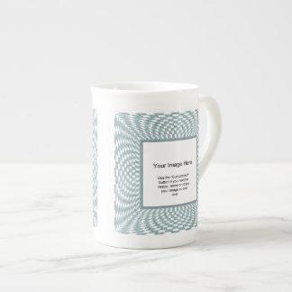 Photo Template - Aqua and White Distorted Checks Tea Cup