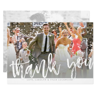 PHOTO THANK YOU hand lettered white type overlay Card
