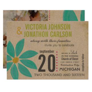 Photo Turquoise Daisy Wedding Invitations