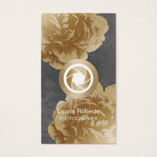 Photographer Camera Gold Floral Photography Business Card