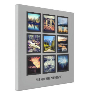 Photographer Display 9 Square Photos Grid Canvas Print