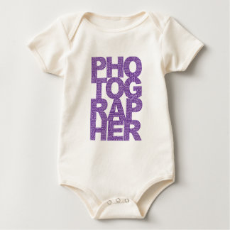 Photographer - Purple Text Baby Bodysuit