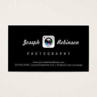 Photography Camera Lens Logo Modern Black Stylish Business Card