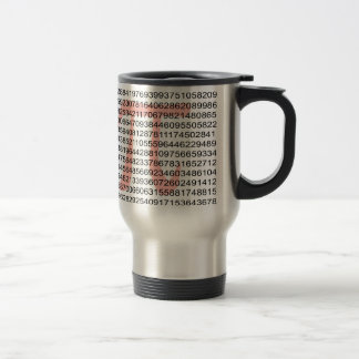 Pi with its number travel mug