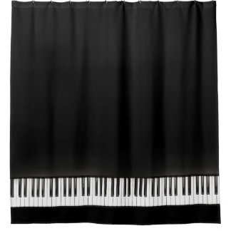 Piano Black and White Shower Curtain
