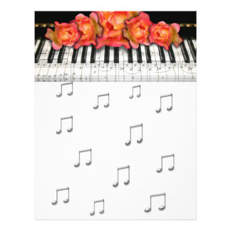Piano Keyboard Roses and Music Notes 21.5 Cm X 28 Cm Flyer